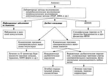 Схема 1. Алгоритм ведения беременных при инфекционном генезе невынашивания беременности