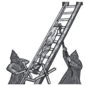 Средневековое орудие пыток инквизиции — «дыба-лестница». Палачи растягивали жертву, причиняя ей невыносимую боль.