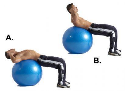 Скручивание на шаре для упражнений, вес тела.