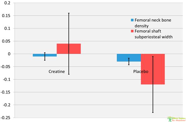Рисунок 3. Влияние 12 месяцев тренировки с отягощениями совместно с приёмом креатина или плацебо на постменопаузных женщин. Планки погрешностей представляют 95% доверительный интервал. Для обоих показателей, различия между креатином и плацебо существенны (P<0.05). Рисунок из: Chilibeck et al. (2014).