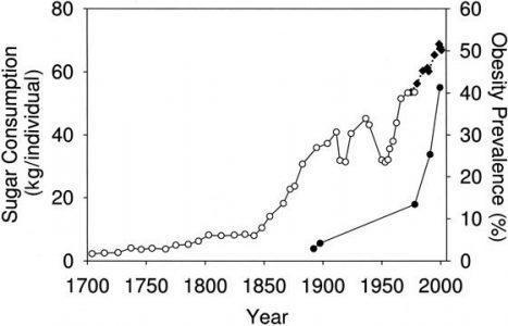 Потребление сахара (кг на чел) и процент ожирения (правая шкала) в Великобритании и США за последние 300 лет.